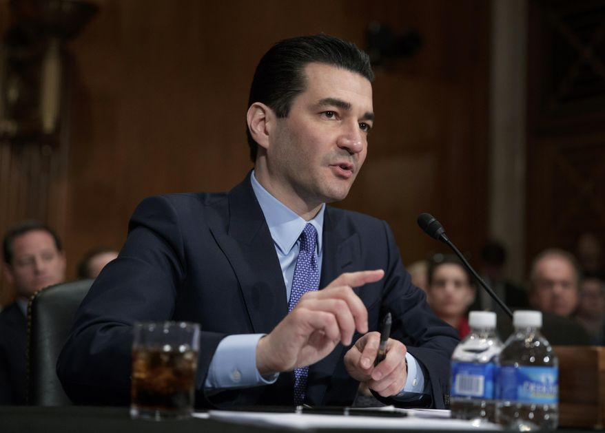 In this Wednesday, April 5, 2017, file photo, Dr. Scott Gottlieb speaks during his confirmation hearing before a Senate committee, in Washington, as President Donald Trump's nominee to head the Food and Drug Administration. (AP Photo/J. Scott Applewhite, File)
