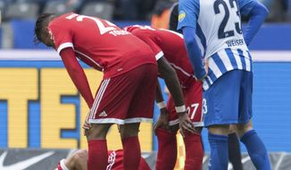 Bayern's Franck Ribery lies on the ground during the German Bundesliga soccer  match between Hertha BSC Berlin, and Bayern Munich at the Olympic Stadium in Berlin, Germany, Sunday, Oct. 1, 2017. (Annegret Hilse/dpa via AP)