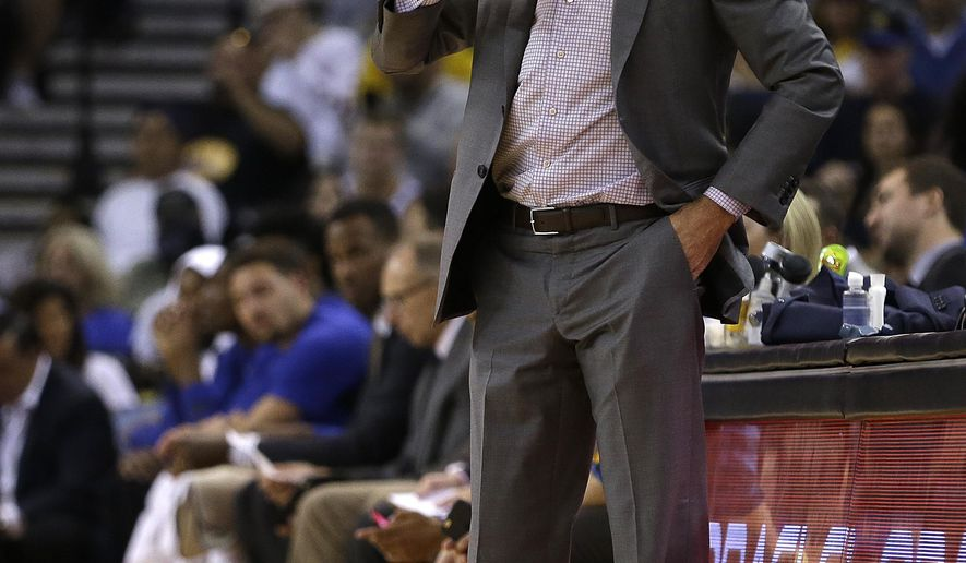 Golden State Warriors coach Steve Kerr watches from the sideline during the first half of a pre-season NBA basketball game against the Denver Nuggets, Saturday, Sept. 30, 2017, in Oakland, Calif. (AP Photo/Ben Margot)