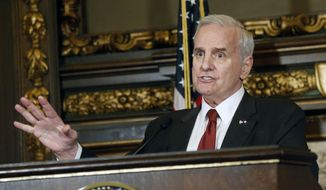 In this May 11, 2017, file photo, Minnesota Gov. Mark Dayton speaks during a news conference in St. Paul, Minn. (AP Photo/Jim Mone File)