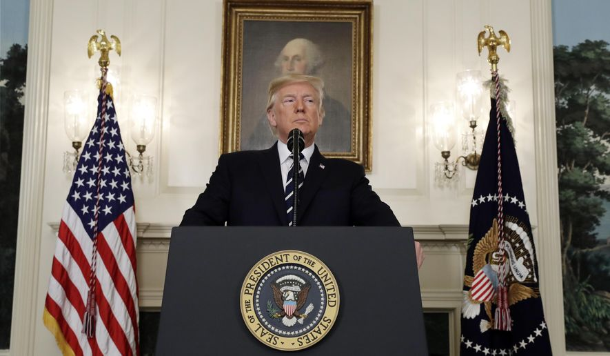President Donald Trump makes a statement about the mass shooting in Las Vegas, Monday, Oct. 2, 2017 at the White House in Washington. (AP Photo/Evan Vucci)