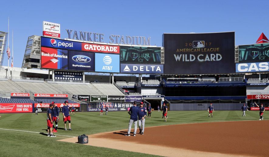 The Minnesota Twins workout at Yankees Stadium, Monday, Oct. 2, 2017, in New York. The Twins face the New York Yankees in the American League wild card playoff game on Tuesday. (AP Photo/Frank Franklin II)