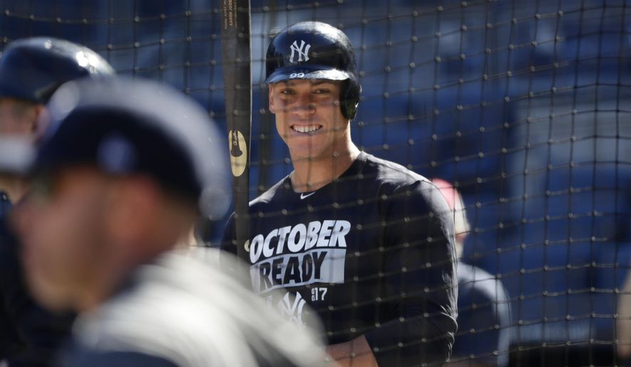 New York Yankees' Aaron Judge (99) works out at Yankees Stadium, Monday, Oct. 2, 2017, in New York. The Yankees host the Minnesota Twins in the American League wild card playoff baseball game on Tuesday. (AP Photo/Frank Franklin II)