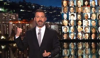 "ABC's Jimmy Kimmel talks to his audience about his desire for new gun control laws in the U.S. during an Oct. 2, 2017, broadcast of his late night show. (Image: YouTube, ""Jimmy Kimmel Live"")"