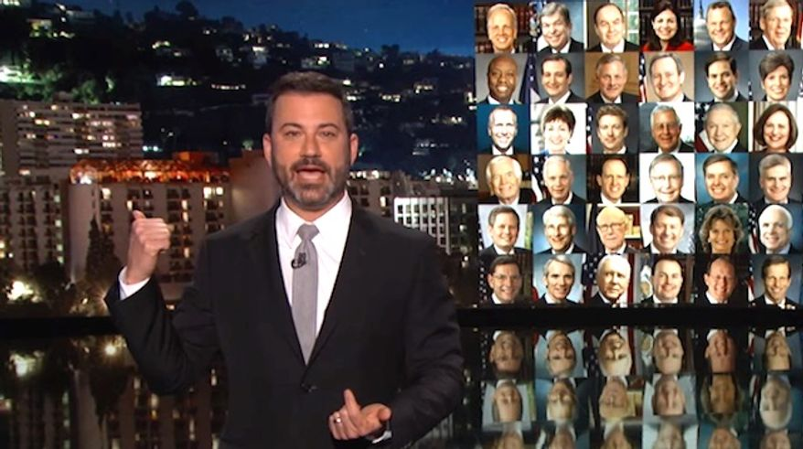 "ABC's Jimmy Kimmel talked to his audience about his desire for new gun control laws during a broadcast this fall of his late-night show. (YouTube, ""Jimmy Kimmel Live"")"