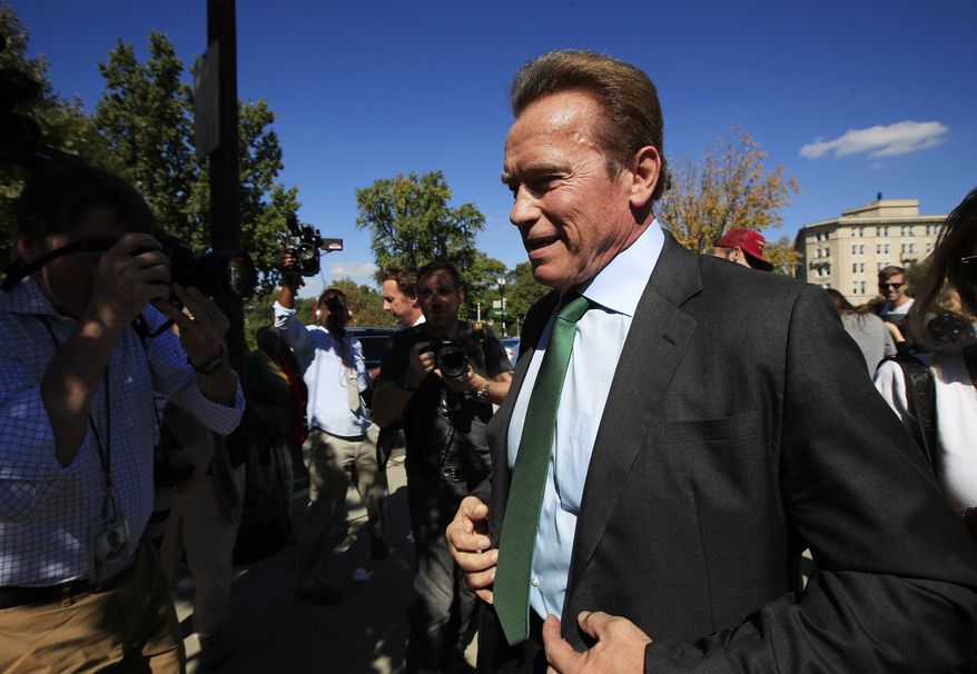 Former California Gov. Arnold Schwarzenegger, leaves the U.S. Supreme Court in Washington, Tuesday, Oct. 3, 2017. The Supreme Court heard arguments in a case about political maps in Wisconsin that could affect elections across the country. (AP Photo/Manuel Balce Ceneta)