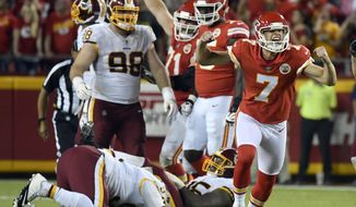 Kansas City Chiefs kicker Harrison Butker (7) celebrates his go-ahead field goal during the second half of an NFL football game against the Washington Redskins in Kansas City, Mo., Monday, Oct. 2, 2017. The Kansas City Chiefs won 29-20. (AP Photo/Ed Zurga)