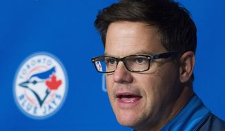 Toronto Blue Jays general manager Ross Atkins speaks to the media during a press conference in Toronto, Tuesday, Oct. 3, 2017. (Nathan Denette/The Canadian Press via AP)
