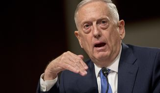 Defense Secretary Jim Mattis speaks on Afghanistan before the Senate Armed Services Committee on Capitol Hill in Washington, Tuesday, Oct. 3, 2017. (AP Photo/Andrew Harnik)