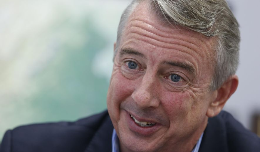 This Tuesday Sept. 26, 2017 photo shows Republican gubernatorial candidate Ed Gillespie, during an interview in Richmond, Va. In a state that stretches from the coal fields to the Chesapeake Bay, environmental issues often play a key role in Virginia's political contests. This year's race for governor is no different. (AP Photo/Steve Helber)