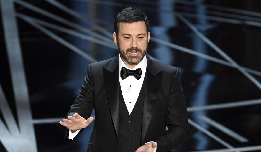 In this Feb. 26, 2017, file photo, host Jimmy Kimmel appears at the Oscars in Los Angeles. Late-night comics decried the Las Vegas mass shooting as a confoundingly repetitive American tragedy, with Jimmy Kimmel and Trevor Noah lashing out at politicians who oppose gun control. They spoke out on Monday, Oct. 2, the day after the worst shooting in modern U.S. history. (Photo by Chris Pizzello/Invision/AP, File)