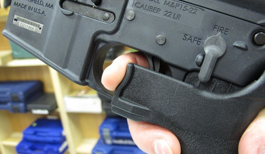 Bump stocks in effect convert semi-automatic firearms into fully automatic weapons. (Associated Press/File)