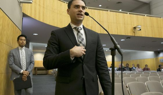 Conservative writer Ben Shapiro speaks during the first of several legislative hearings planned to discuss balancing free speech and public safety, Tuesday, Oct. 3, 2017, in Sacramento, Calif. (AP Photo/Rich Pedroncelli)