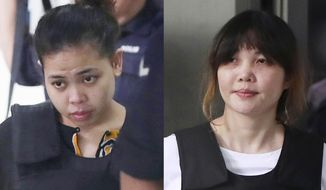 In this combination of photos, Indonesian Siti Aisyah, left, and Vietnamese Doan Thi Huong, right, are escorted by police as they leave their court hearing at Shah Alam court house in Shah Alam, outside Kuala Lumpur, Malaysia, Monday, Oct. 2, 2017. Aisyah and Huong, accused of fatally poisoning Kim Jong-nam, the estranged half brother of North Korea's ruler, pleaded not guilty as their trial began Monday in Malaysia's High Court, nearly eight months after the brazen airport assassination that sparked a diplomatic standoff. (AP Photos/Daniel Chan)