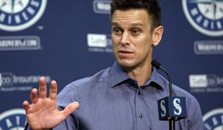 Seattle Mariners general manager Jerry Dipoto speaks with reporters during a baseball news conference Tuesday, Oct. 3, 2017, in Seattle. The team finished their season at 78-84, third place in American League West. (AP Photo/Elaine Thompson)