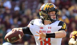 FILE - In this Saturday, Sept. 30, 2017, file photo, Maryland quarterback Max Bortenschlager (18) throws against Minnesota during the first quarter of an NCAA college football game in Minneapolis. Bortenschlager began the season as Maryland's third-string quarterback. The sophomore played well in a win over Minnesota last week, but he'll have to be even better Saturday against No. 10 Ohio State on the road. (AP Photo/Andy Clayton-King, File) **FILE**