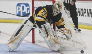 FILE - In this Sept. 24, 2017, file photo, Pittsburgh Penguins goalie Matt Murray controls the puck as he plays against the St. Louis Blues during the second period of the NHL preseason hockey game in Cranberry, Pa. There are no more questions about who the No. 1 goaltender is in Pittsburgh anymore. The job is Matt Murray's for the foreseeable future, a burden the 23-year-old two-time Stanley Cup winner is only too happy to carry. (AP Photo/Keith Srakocic, File)