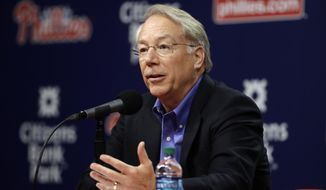 Philadelphia Phillies president Andy MacPhail speaks with members of the media during a news conference in Philadelphia, Tuesday, Oct. 3, 2017. Despite finishing last in the NL East for the third time in four years, the Phillies (66-96) have reason to be optimistic about 2018 and beyond.(AP Photo/Matt Rourke)