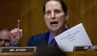 In this Sept. 25, 2017, file photo, Sen. Ron Wyden, D-Ore., speaks on Capitol Hill in Washington. .(AP Photo/Andrew Harnik, file)