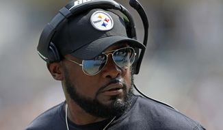 FILe - This is a Sept. 17, 2017, file photo showing Pittsburgh Steelers head coach Mike Tomlin on the sidelines during the first half of an NFL football game against the Minnesota Vikings, in Pittsburgh. The Steelers followed Tomlin's blueprint to near perfection in a rare road win in Baltimore. Now comes the hard part: keeping it going.  (AP Photo/Keith Srakocic, File)