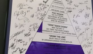 A framed poster of a pyramid structure hangs in the TCU football team meeting room, Tuesday, Oct. 3, 2017, in Fort Worth, Texas. Coach Gary Patterson has a longstanding illustration to show his eighth-ranked Horned Frogs all they still have left to try to accomplish. They see it every time they go into the room. (AP Photo/Stephen Hawkins)