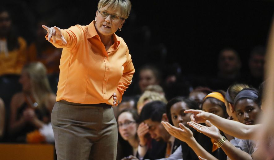 FILE - In this Dec. 4, 2016, file photo, Tennessee head coach Holly Warlick directs her players during an NCAA college basketball game against Baylor in Knoxville, Tenn. Tennessee opens preseason practice trying to bounce back from a disappointing year and understanding it will rely heavily on a heralded freshman class following the unexpected offsesason departures of Diamond DeShields, Te'a Cooper and Alexa Middleton. (AP Photo/Mark Humphrey, File)