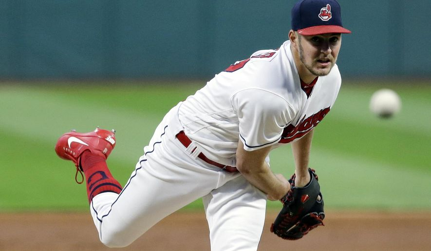 FILE - in this Sept. 29, 2017, file photo, Cleveland Indians starting pitcher Trevor Bauer delivers in the first inning of a baseball game against the Chicago White Sox in Cleveland. Indians manager Terry Francona has decided to start right-hander Trevor Bauer _ and not ace Corey Kluber, in Game 1 of the AL playoffs.  (AP Photo/Tony Dejak, File)
