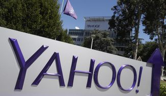 This Tuesday, July 19, 2016, photo shows a Yahoo sign at the company's headquarters in Sunnyvale, Calif. On Tuesday, Oct. 3, 2017, Yahoo tripled down on what was already the largest data breach in history, saying it affected all 3 billion of its users, not the 1 billion it revealed in late 2016. (AP Photo/Marcio Jose Sanchez)