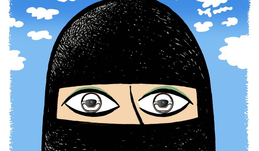 Illustration on Saudi women being legally allowed to drive by Alexander Hunter/The Washington Times