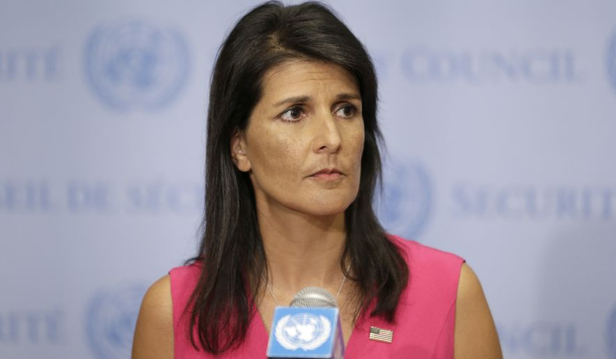 FILE - In this Friday, Aug. 25, 2017, file photo, United States Ambassador to the United Nations Nikki Haley speaks to reporters at U.N. headquarters. Haley has been reprimanded for violating a law limiting government employees' political activity by voicing support for a South Carolina congressional candidate. The U.S. Office of Special Counsel notified Citizens for Responsibility and Ethics in Washington it had issued a warning letter dated Sept. 28, to the former South Carolina governor but would pursue no further action. (AP Photo/Seth Wenig, File)