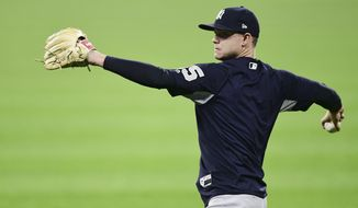 New York Yankees starting pitcher Sonny Gray throws during a team workout, Wednesday, Oct. 4, 2017, in Cleveland. The Yankees will play the Cleveland Indians in Game 1 of the ALDS on Thursday. (AP Photo/David Dermer)