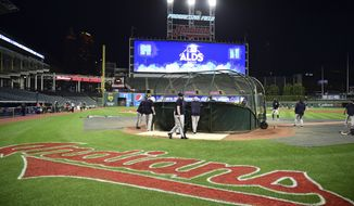 The New York Yankees take batting practice during a team workout, Wednesday, Oct. 4, 2017, in Cleveland. The Yankees will play the Cleveland Indians in Game 1 of the ALDS on Thursday. (AP Photo/David Dermer)