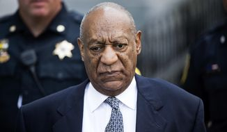 FILE - In this Aug. 22, 2017 file photo Bill Cosby departs Montgomery County Courthouse after a pretrial hearing in his sexual assault case in Norristown, Pa. A woman is asking a federal appeals court to reinstate a lawsuit accusing comedian Cosby of defaming her when his representative disputed a news story about her rape allegations. The 1st U.S. Circuit Court of Appeals, in Boston, is to hear arguments Wednesday, Oct. 4, in Katherine McKee's case against Cosby. (AP Photo/Matt Rourke, File)