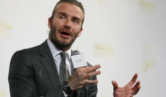"""Former England's soccer player David Beckham speaks during a press conference in Tokyo, Wednesday, Oct. 4, 2017. Casino and resorts operator Las Vegas Sands has deployed Beckham and other top sports, music and entertainment figures in its effort to woo Japan as it prepares to issue licenses for casinos. Japan's large and wealthy market is luring big-name casino operators who are sweetening their bids with promises of ultra-modern """"integrated resorts."""" Las Vegas Sands told reporters in Tokyo on Wednesday its plans include top-class concert and sports venues to help revive Japan's leisure industry.(AP Photo/Shizuo Kambayashi)"""