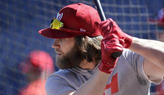 Washington Nationals' Bryce Harper takes batting practice during a baseball workout at Nationals Park, Wednesday, Oct. 4, 2017, in Washington. The Nationals host the Chicago Cubs in Game 1 of the National League Division Series on Friday. (AP Photo/Mark Tenally)