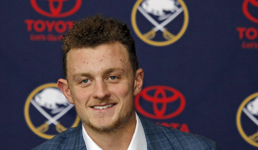 Buffalo Sabres forward Jack Eichel addresses the media during an NHL hockey news conference, Wednesday Oct. 4, 2017, in Buffalo, N.Y.  The Sabres and 20-year-old center agreed to an eight-year, $80-million contract extension on Tuesday.  (AP Photo/Jeffrey T. Barnes)