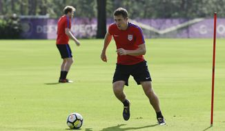 United States defender Matt Besler works on a drill during a soccer training session, Monday, Oct. 2, 2017, in Sanford, Fla. The United States hosts Panama in a World Cup qualifying match on Friday, Oct. 6. (AP Photo/John Raoux)
