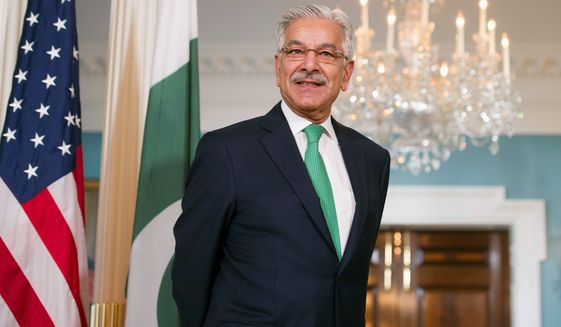 """Pakistani Foreign Minister Khawaja Asif attempted to cool the temperature of relations with Washington after President Trump called Pakistan a haven for terrorists. """"The bilateral relationship between the U.S. and Pakistan has taken a new turn,"""" Mr. Asif said. (Associated Press)"""