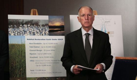 In this July 25, 2012, file photo, California Gov. Jerry Brown waits for the start of a news conference to announce plans to build a giant twin tunnel system to move water from the Sacramento-San Joaquin River Delta to farmland and cities, in Sacramento, Calif. (AP Photo/Rich Pedroncelli, File)