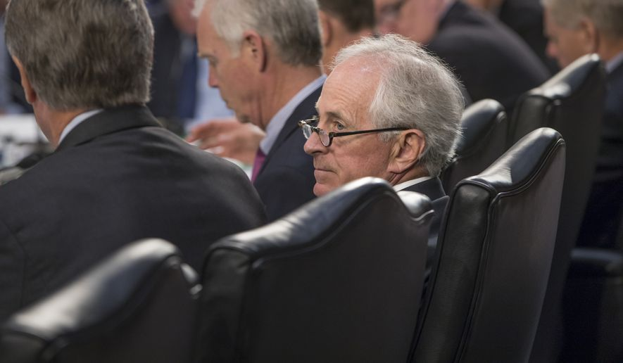 Sen. Bob Corker, Tennessee Republican, voted to advance the budget through committee but said he plans to oppose any plan that adds even one penny to the deficit. (Associated Press)