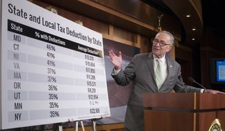 Senate Minority Leader Chuck Schumer, D-N.Y., uses charts to contest the Republican version of tax reform, during a news conference on Capitol Hill in Washington, Thursday, Oct. 5, 2017. (AP Photo/J. Scott Applewhite)