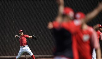 Washington Nationals' Stephen Strasburg throws during practice at Nationals Park, Thursday, Oct. 5, 2017, in Washington. Game 1 of the National League Division Series against the Chicago Cubs is on Friday. (AP Photo/Nick Wass)