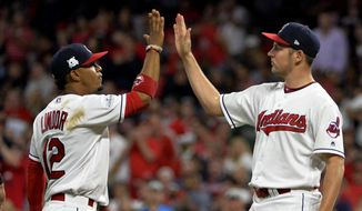 Cleveland Indians' Francisco Lindor, left, congratulates starting pitcher Trevor Bauer before Bauer left in the seventh inning of Game 1 of a baseball American League Division Series, against the New York Yankees on Thursday, Oct. 5, 2017, in Cleveland. Bauer pitched 6 2/3 innings and gave up two hits. (AP Photo/Phil Long)