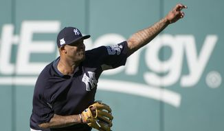 New York Yankees starting pitcher CC Sabathia warms up before Game 1 of baseball's American League Division Series against the Cleveland Indians, Thursday, Oct. 5, 2017, in Cleveland. Sabathia is scheduled to pitch against the Indians Friday in Game 2. (AP Photo/Phil Long)