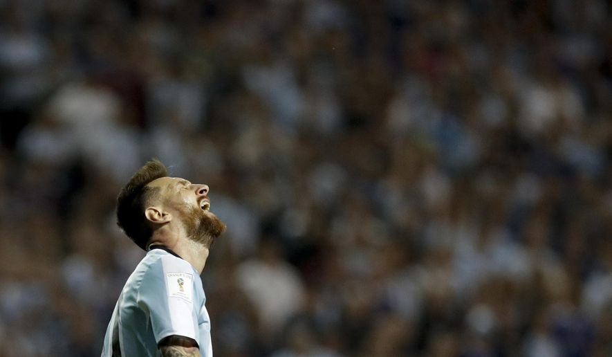 Argentina's Lionel Messi screams in disbelief after playing Peru to a 0-0 draw in a World Cup qualifying soccer match, at La Bombonera stadium in Buenos Aires, Argentina, Thursday, Oct. 5, 2017. The draw leaves Argentina almost out of the upcoming World Cup in Russia. (AP Photo/Natacha Pisarenko)
