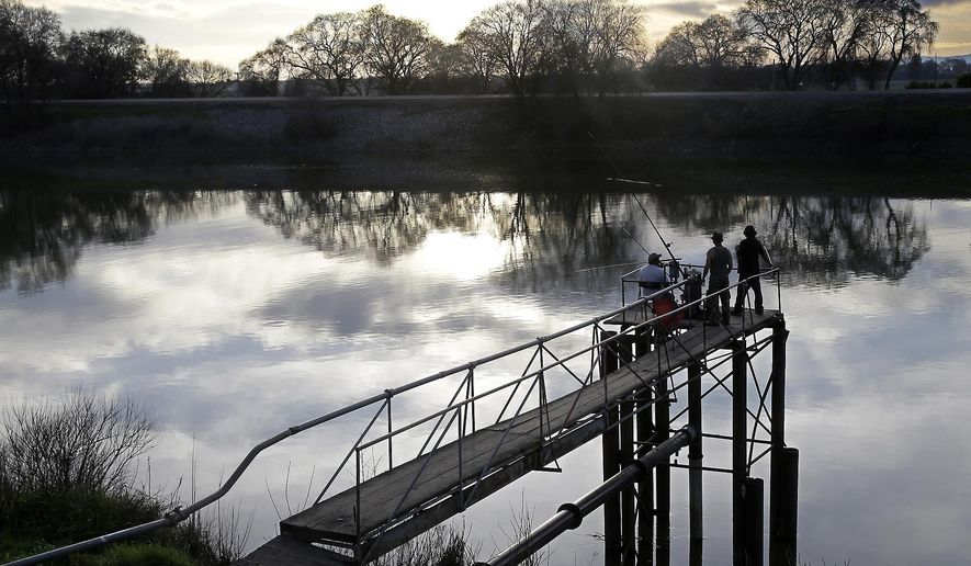 FILE- In this Feb. 23, 2016 file photo, people try to catch fish along the Sacramento River in the San Joaquin-Sacramento River Delta, near Courtland, Calif.  A report issued by the state's auditor office, Thursday, Oct. 5, 2017, says California's water managers appear to have broken state law by hiring an unqualified consultant to help plan the $16 billion project.  (AP Photo/Rich Pedroncelli, File