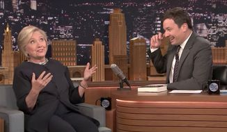 "Hillary Clinton suggested Wednesday night on ""The Tonight Show With Jimmy Fallon"" that President Trump doesn't take his job seriously and that she would have been more at ease if she had lost the election to a more capable Republican. (YouTube/@The Tonight Show Starring Jimmy Fallon)"