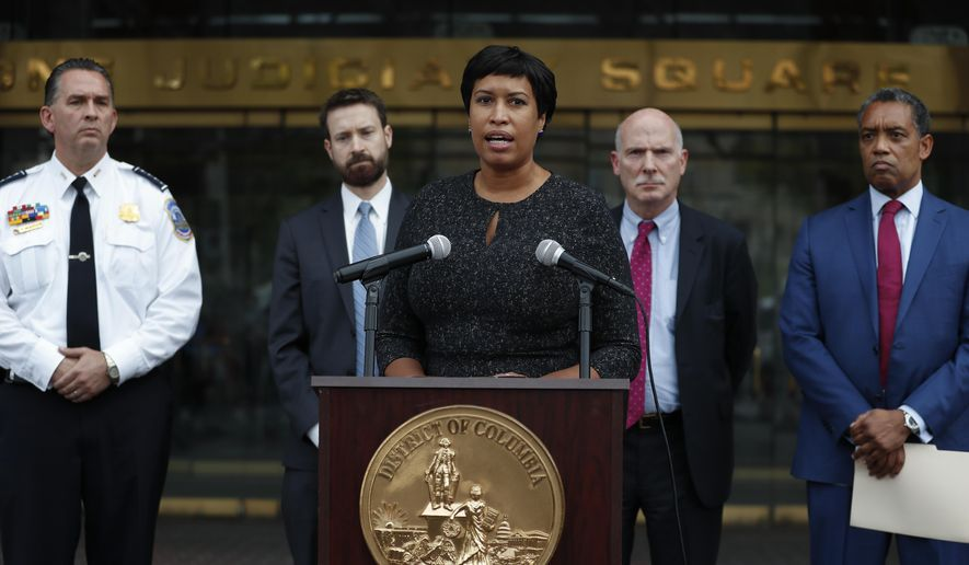District of Columbia Mayor Muriel Bowser, joined by from left, District of Columbia Police Chief Peter Newsham, District of Columbia Council member Charles Allen, District of Columbia Council Chairman Phil Mendelson, and District of Columbia Attorney General Karl Racine, speaks at One Judiciary Square in Washington, Thursday, Oct. 5, 2017. District of Columbia officials say they won't appeal a court ruling against a strict city gun law, setting the stage for it to become easier for gun owners to get concealed carry permits in the city. City officials announced their decision not to take the case to the Supreme Court. (AP Photo/Carolyn Kaster) **FILE**