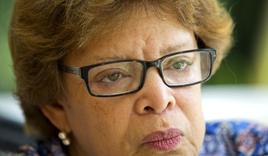 Sandra Honore, a diplomat from Trinidad and Tobago who has served since July 2013 as the head of the U.N. mission in Haiti known as MINUSTAH, listens to a question during an interview in Port-au-Prince, Haiti, Wednesday, Oct. 4, 2017. The U.N. peacekeeping mission in Haiti is coming to an end on Oct. 15. Immediately afterward, the U.N. will start a new mission made up of international civilian police officers and civilians. (AP Photo/Dieu Nalio Chery)