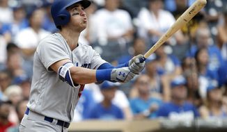 FILE - In this Sept. 3, 2017, file photo, Los Angeles Dodgers' Cody Bellinger watches his solo home run during the ninth inning of a baseball game against the San Diego Padres in San Diego. Bellinger will make his major league playoff debut this week after a remarkable rookie season with the Dodgers, who won 104 games and the NL West. The 22-year-old slugger set a league rookie record with 39 homers, and his veteran teammates think he can keep up his power stroke in the postseason. (AP Photo/Alex Gallardo, File)